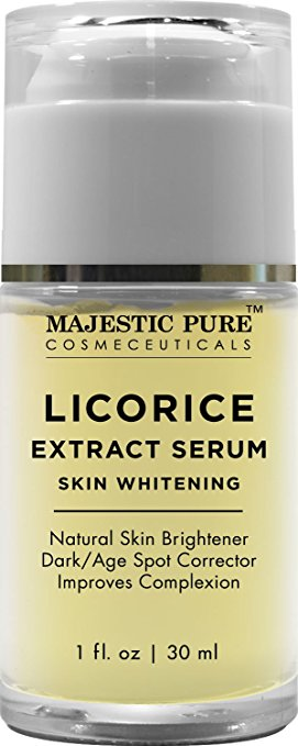 Majestic Pure Skin Whitening & Skin Brightening Serum for Even Complexion, 1 fl. oz. - Potent Licorice Root Extract Helps Reduce the Appearance of Age Spots and Dark Spots and Promotes Skin Lightening